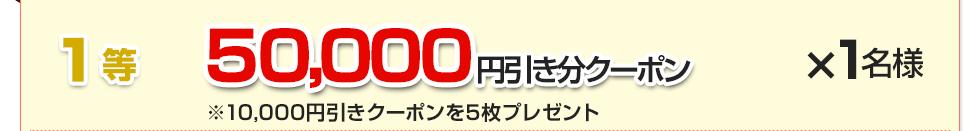 1等:50,000円引き分クーポン(10,000円引きクーポン5枚)×1名様