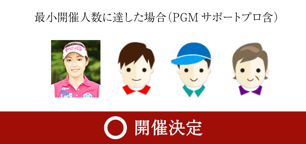 最低開催人数3名以上の場合(PGMサポートプロ含) 開催決定